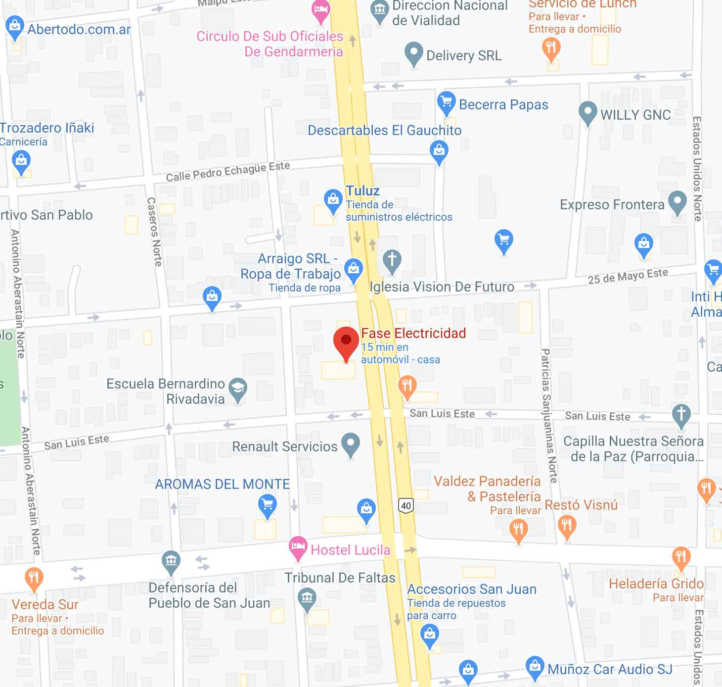 Mapa de ubicación Fase de Electricidad San Juan Argentina.